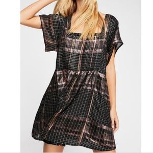 Free People Barcelona Plaid Mini Dress S shine